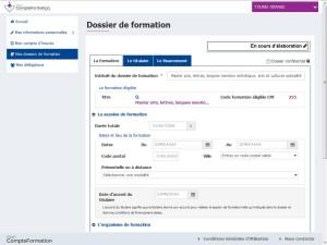 Image sur le processus de remplissage d'un dossier CPF sur la plateforme MonCompteFormation