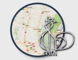 Localisation de Bourg-en-Bresse sur une carte et symbole local