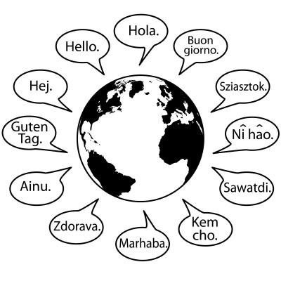Illustration des cours de langues avec une planète qui dit bonjour dans toutes les langues