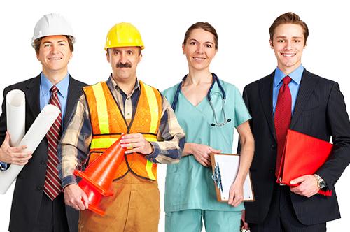 Image illustrant la formation professionnelles dans différents corps de métier, construction, bâtiment, santé, travail de bureau