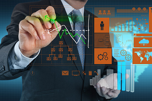 Image illustrant la gestion et le management avec des outils d'analyse modernes